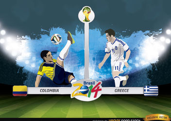 Colombia vs. Greece match Brazil 2014 - Free vector #173409