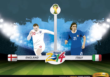 England vs. Italy match Brazil 2014 - Free vector #173419