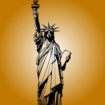 Statue of Liberty in Black & White - vector gratuit #173589
