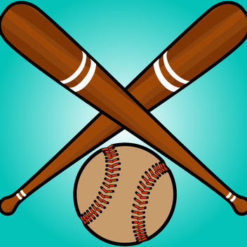 Crossed Baseball Bats with Ball Beneath - бесплатный vector #173609
