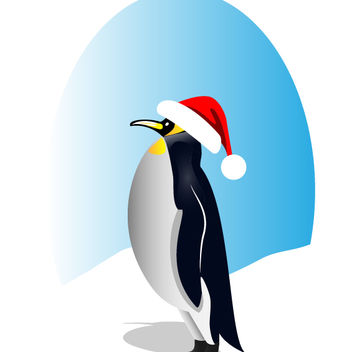 Happy Santa Penguin - vector gratuit #173619