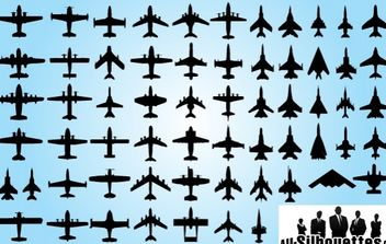Top View of Airplane Pack Silhouette - Free vector #173659