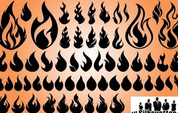 Set of Fire Flame Shape Silhouette - Kostenloses vector #173669