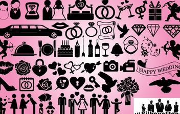 Wedding Icon Pack Silhouette - vector #173689 gratis