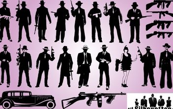 Silhouette Gangster Pack - Free vector #173699