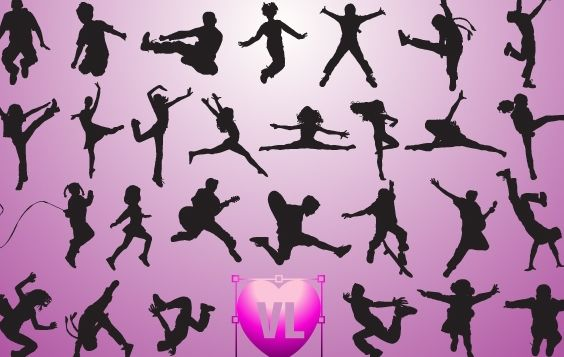 Children Jumping Set Silhouette - Free vector #173769