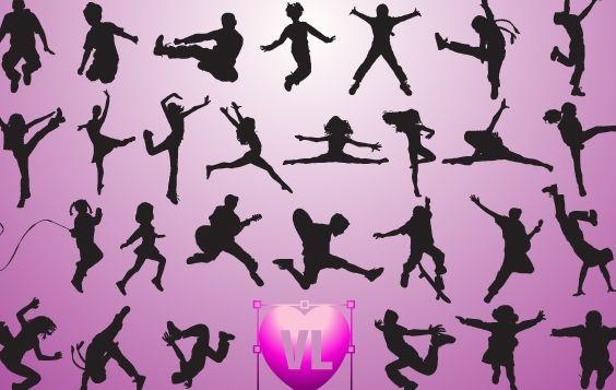 Children Jumping Set Silhouette - vector #173769 gratis