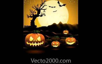 Pumpkin Halloween Night Poster - Free vector #173799