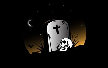 Grave on Halloween Theme with Skull - vector gratuit #173829