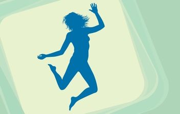 Happy Girl Jumping Blue Silhouette - Free vector #173939