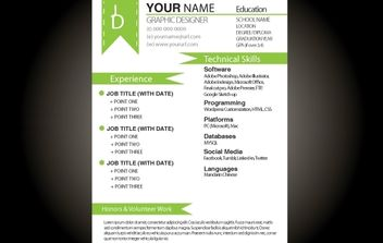 Green Basic Resume Template - vector #174209 gratis