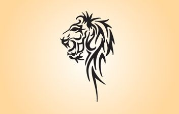 Black & White Tribal Lion Head - Free vector #174449