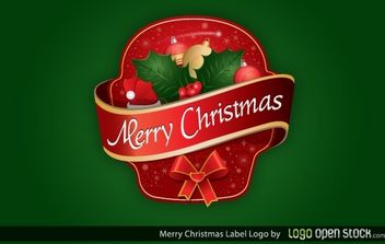 Merry Christmas Label Logo - Free vector #174689