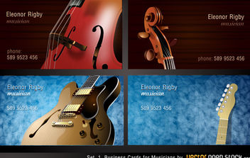 Musicians Business Card Set - vector gratuit #174709