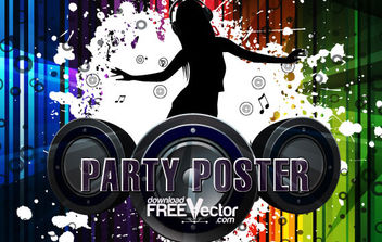 Free Vector Party Poster - Kostenloses vector #175039