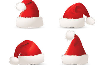 Red Christmas Santa Hats - Free vector #175069