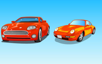 Two red cars - vector gratuit #175359