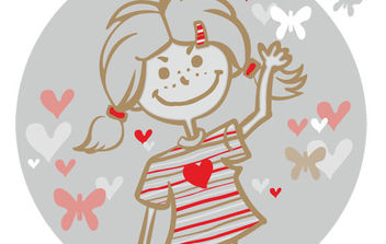 girl and flying hearts - Kostenloses vector #175439