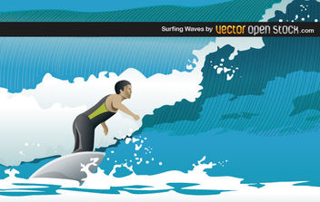 Surfing Waves - vector gratuit #175799
