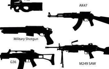 Gun Silhouettes - vector gratuit #177179