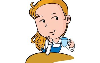 Beautiful Girl with a cup of coffee - Free vector #177249