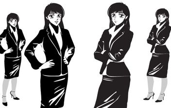 MANGA NOIR FEMALE - OFFICE - Free vector #177819