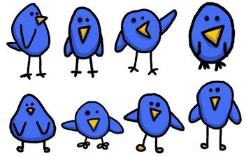 8 Cute & Simple Twitter Bird Graphics - Free vector #178589