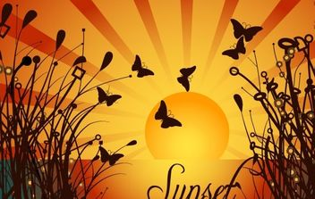 NATURE SUNSET VECTOR GRAPHIQUE - Free vector #178729