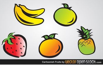 Cartoonish Fruits - vector gratuit #178919