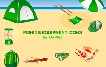 Fishing Equipment Icons - Free vector #179049