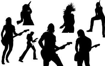 Live Music Vector Silhouettes - Free vector #179359