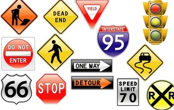 road signs & traffic light - vector gratuit #179379