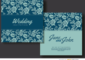 Blue floral marriage invitation - Free vector #179489