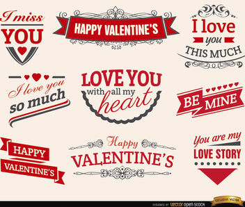 9 Valentine's love ribbons labels - Free vector #179539
