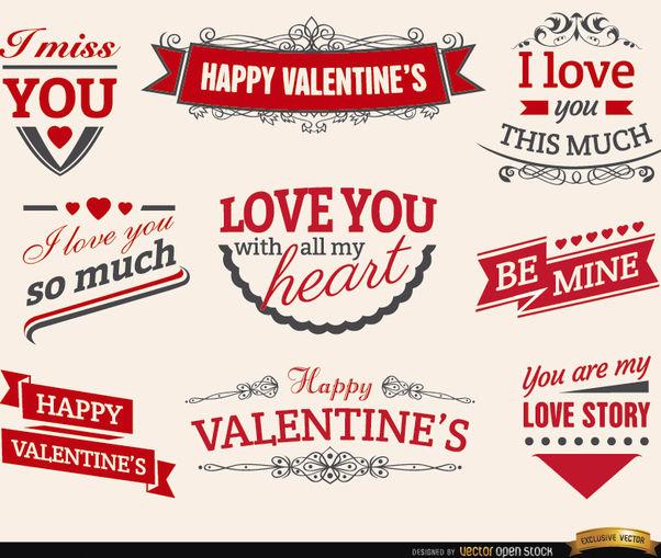 9 Valentine's love ribbons labels - бесплатный vector #179539