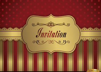 Wedding invitation red golden frame fringes - vector #179559 gratis