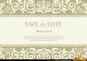 Wedding invitation with floral fringes - vector #179569 gratis
