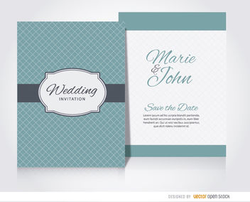 Wedding invitation sleeve turquoise - vector #179679 gratis