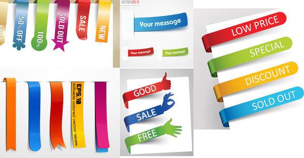 Delicate Colorful Ribbon & Cornered Label Set - бесплатный vector #179749
