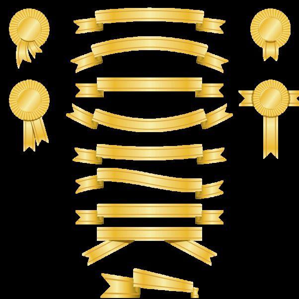Golden Banner and Award Ribbon Pack - vector #179759 gratis