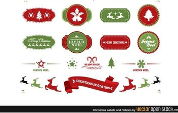 Christmas labels and ribbons - Free vector #179769