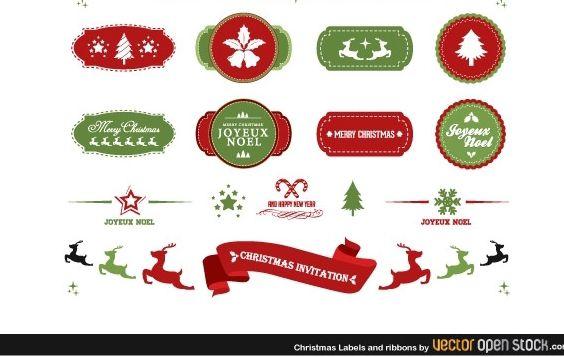 Christmas labels and ribbons - vector #179769 gratis