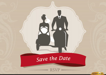 Wedding invitation with Sidecar Couple - Free vector #179889