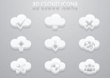 3D White Cloud Icon Set - Free vector #179939