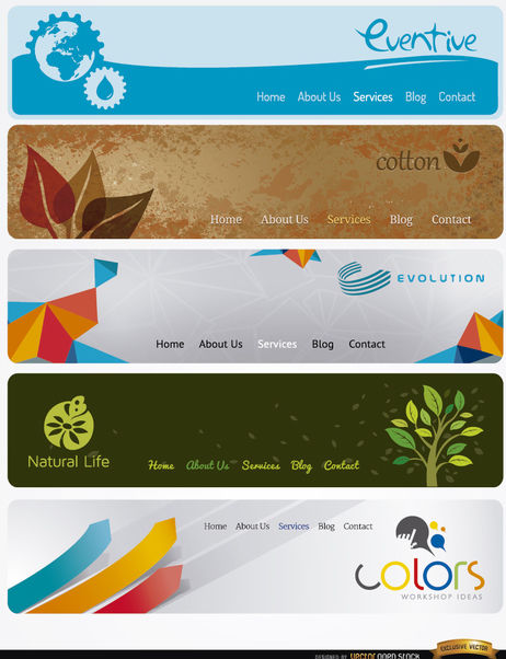 5 Modern website headers with menu - vector #180059 gratis