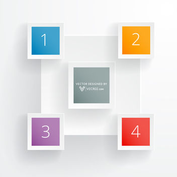 Minimal 5 Squares Colorful Rectangle Infographic - Free vector #180069