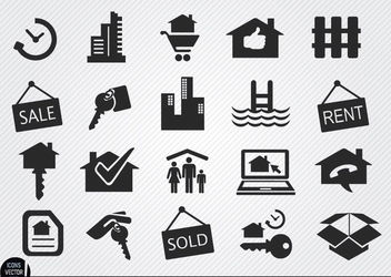 Real estate icons set - vector gratuit #180119