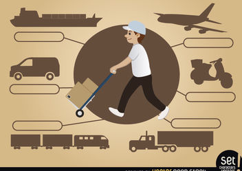 Delivery man with transport means - Kostenloses vector #180229