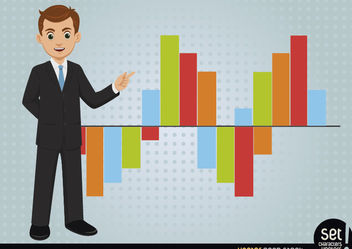 Young Businessman Showing Bar Graph - vector gratuit #180249