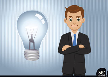 Businessman having an idea (lightbulb) - Free vector #180259